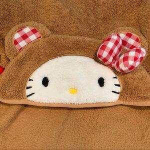 Hello Kitty Brown Bear Red Plaid Blanket